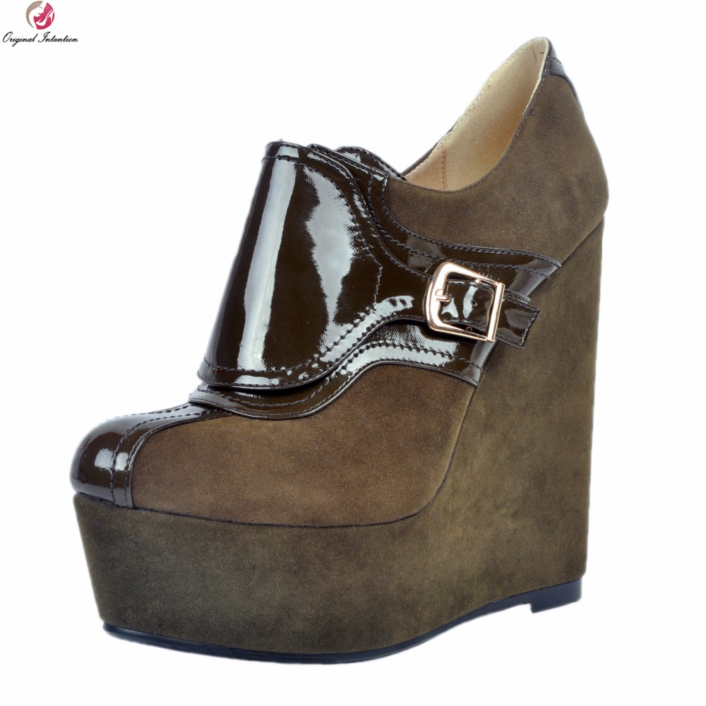 Original Intention New Sexy Women Ankle Boots Fashion Platform Round Toe Wedges Boots Army Green Shoes Woman Plus US Size 4-15