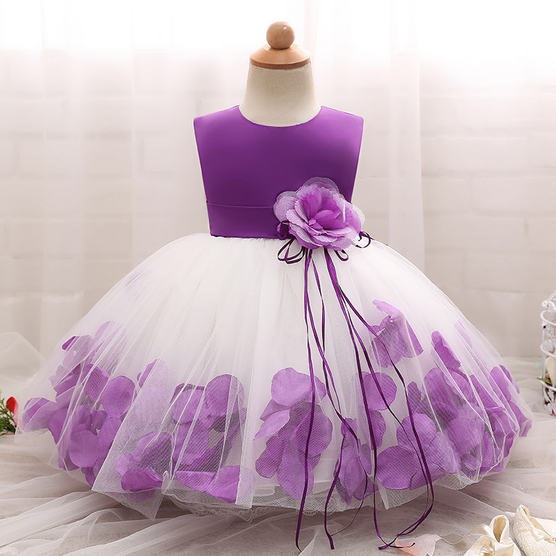 Toddler Baby Girls Princess tutu Dress Flower Tulle Princess Children Bridemaid Dress with Flower For Wedding Party Prom Dresses new autumn girls flower dress long sleeve with bow belt princess children bridemaid dress wedding 4 10 years party prom cloth