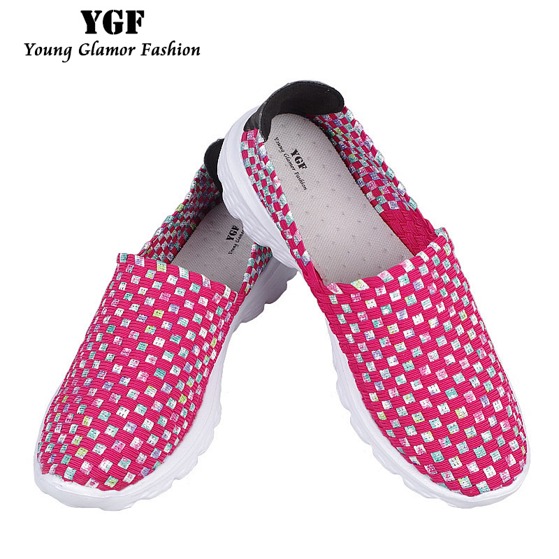 YGF 2017 Summer Flats Women Shoes Slip on Casual Loafers Round Toe Womens Weave Shoes Fashion Breathable Flat Female Shoes xiaying smile woman flats women brogue shoes loafers spring summer casual slip on round toe rubber new black white women shoes