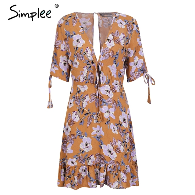 Simplee Ruffle Floral Print Dress Women Sexy V Neck Short Sleeve Mini Dress  New 2018 Summer Robe Femme Drawstring Dress Female by Simplee