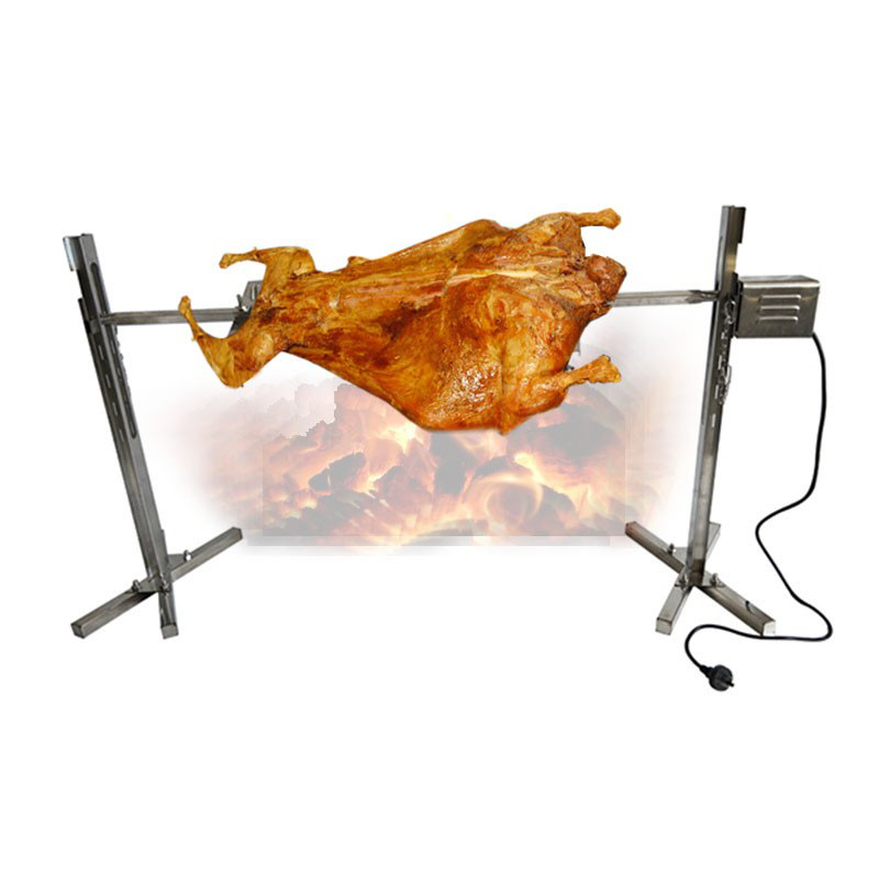 Stainless Steel Spit Roaster Camping Large Grill Rotisserie Spit Roaster Rod Charcoal BBQ Pig Chicken 15W Motor image