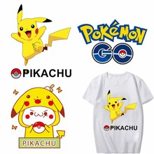Iron-on Transfers Patches for Clothes DIY T-Shirt Applique Heat Transfer Vinyl Ironing Pikachu Pokemon Patch Stickers on Clothes iron on letters patches for clothes ironing stickers heat transfers for t shirt hoodie jeans diy accessory press patch vetement