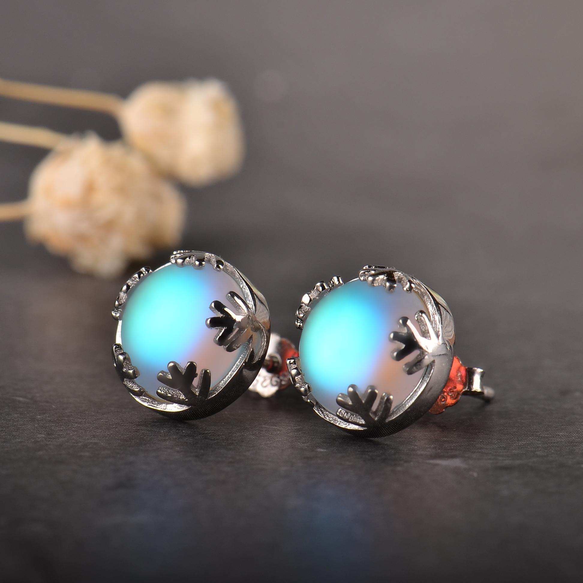 Moonlight Ladies Fashion Aurora Borealis Earrings s925 Silver Stud Elegant Jewelry Birthdays Romatic Gift for Women 2