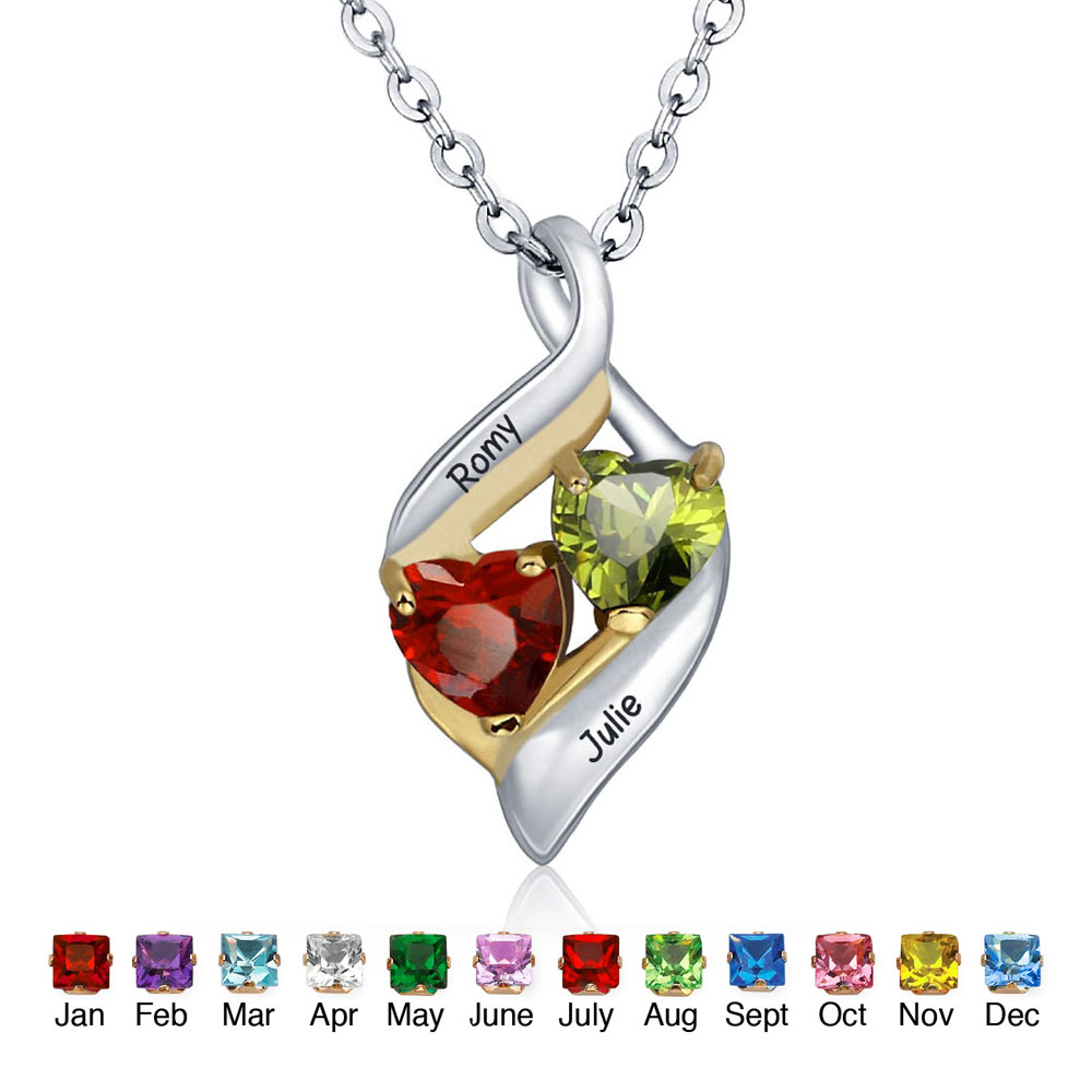 Personalized Chain Pendants Necklaces 925 Sterling Silver Birthstone Couple Hearts Fashion Trendy Women Gift NE101328