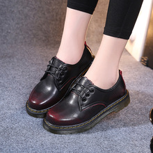 real leather size plus 35~44 women martins British style platform flats for office casual walking spring girl ladies shoes 2016