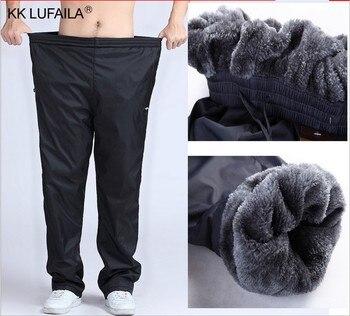 Men's Super Warm Winter Pants Thick Wool Joggers Fleece Trousers Waterproof Sweatpants Windbreaker Cargo Pants Men 4XL 5XL 6XL Casual Pants