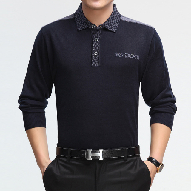 High quality 2015 top sale Spring Men's Wear Solid Colored Bottoming Shirt Long Sleeve anti-wrinkle Fashion  polo-shirt
