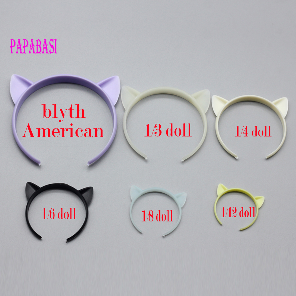 1pc Cute cat ear headbands dolls hair accessories for American girl Blyth doll BJD 1/3 1/4 1/6 1/8 1/12 doll as for Barbie dolls mism girl french hair bun maker multifunctional hair accessories for women fine roller curls styling holder curlers headbands