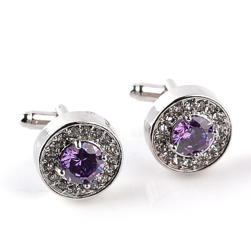 Luxury High-grade jewelry Men's White Purple Enamel Crystal Cufflinks Round Wedding Party Cufflink French shirt Cuff Buttons