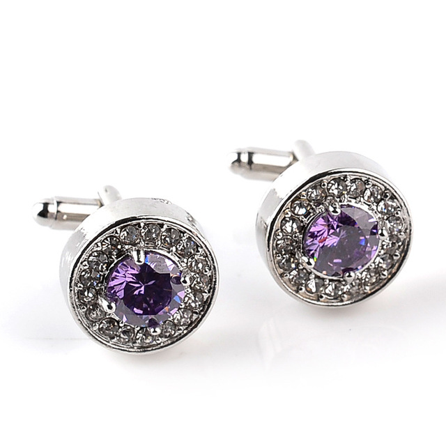 Luxury High-grade jewelry Men's White Purple Enamel