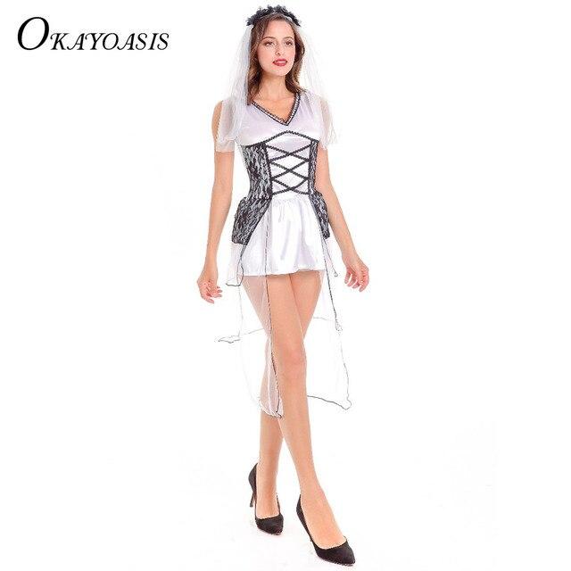 a655aa808eb5f Nueva sexy blanco fantasma traje de novia Gothic Manor Zombie boda cadáver  muerte diario partido trajes