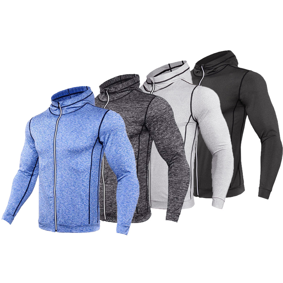 лучшая цена 2018 New Rashgard Hooded Sport Shirt Men Long Sleeve Zipper Running T Shirt Men Hoody Compression Shirt Gym Tshirt Fitness Top