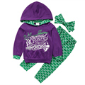 3 Pcs Girls Kids  Mermaid Clothing Set Toddler Baby Kids Girl Hooded Top+Pants+headband Letter Hoodie Outfits Sets Clothes 1-6Y