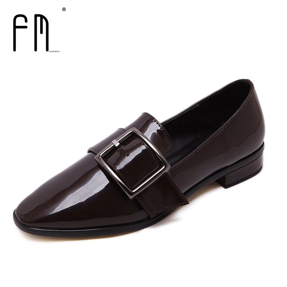 Brand FEDIMIRO Spring Oxford Shoes Women Patent Leather Pointed Toe Slip-on flat Loafers Casual Metal buckles Ladies Flats spring summer women leather flat shoes 2017 sweet bowtie flats women shoes pointed toe slip on ladies shoes low heel shoes pink