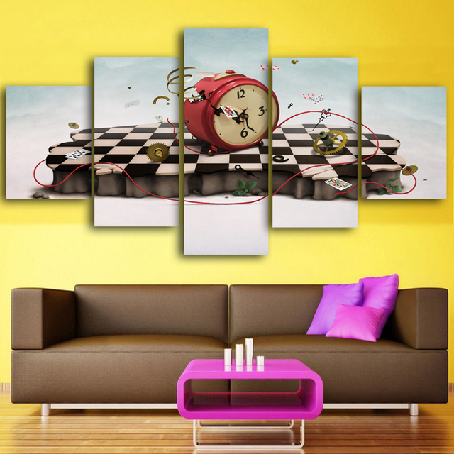Pieces Set Cartoon Live Clocks Wall Art Paintings Picture Print On Canvas For Home