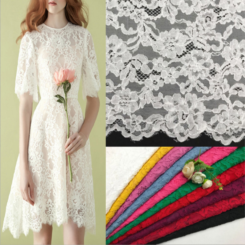 1yard Cotton Lace fabric hollow lace for Wedding dress material custom