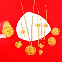 Big Size Jewelry Sets For Ethiopian Gold Color Women Jewelry Hair Chain Hair Stick Pendant Bangle Earrings Ring