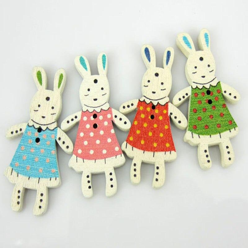 ᗚ40 unids/lote pintura mixta conejo encantador botón de madera ...