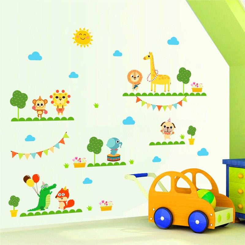 cartoon circus giraffe elephant monkey acrobatics wall stickers for