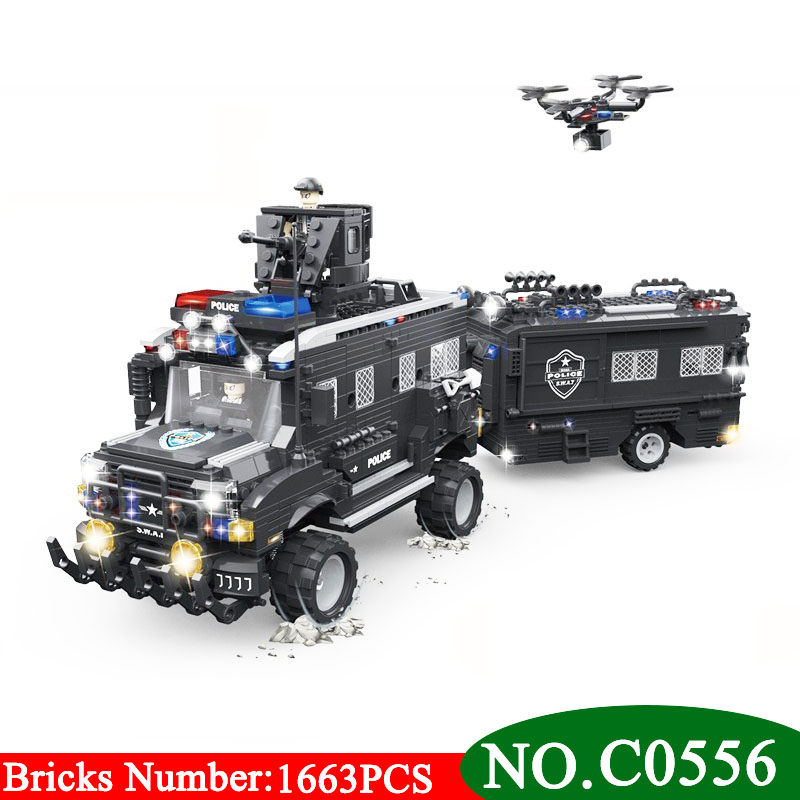 цена на C0556 SWAT Clan Assault Riot Armored Vehicles 1663PCS Building Blocks Bricks enlighten toys for children gifts