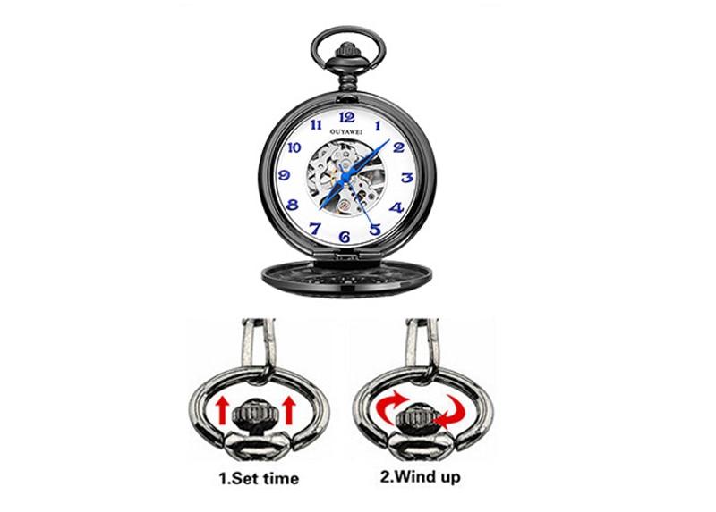 Steampunk Mechanical Pocket Watch Men Retro Pendant Watch Chain Vintage Necklace Mechanical Hand Wind Clock Pocket Watch Gifts 34