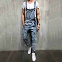 Big Size Denim Jumpsuit Men Romper Winter Autumn Jeans Jumpsuit male 2018 Streetwear Overalls