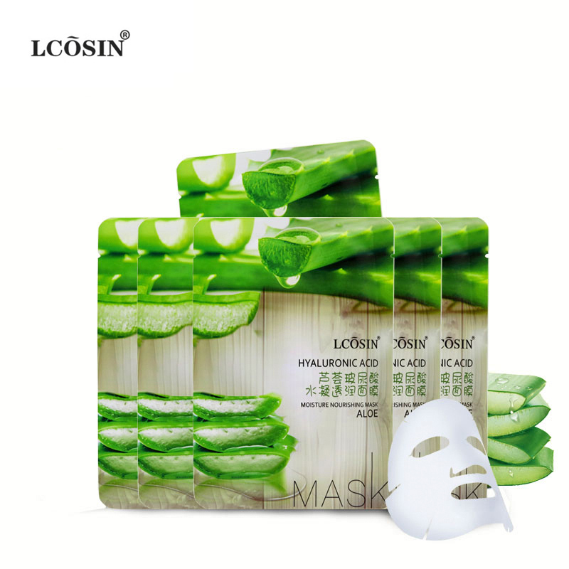 LCOSIN facial mask aloe hyaluronic acid acne cleansing beauty mask face masks sheet cosmetic moist whitening skin care face care