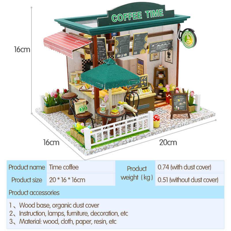 Nhà búp bê Thu Nhỏ Dollhouse TỰ LÀM Với Nội Thất Cà Phê Bằng Gỗ Thời Gian Cửa Hàng Nhà Đồ Chơi Cho Trẻ Em Gái Sinh Nhật Món Quà Giáng Sinh