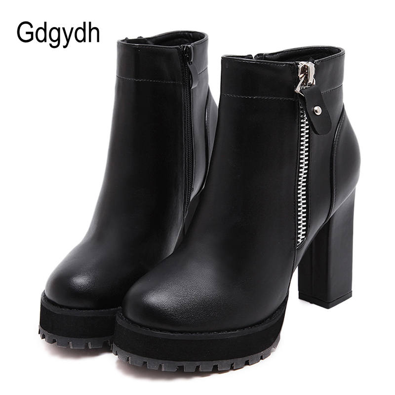 Gdgydh Sexy Zipper Women Martin Boots High Heels Shoes For Autumn 2017 New Rubber Sole Casual Boots Woman Platform Short Plush 6 inch platform side zipper fashion boot women top bows suede sexy 15cm ultra high heels short boots martin crystal shoes