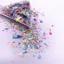 20 그램/갑/팩 불규칙한 쉘 종이 장식 조각 DIY 네일 Flakies 다채로운 Paillettes 반짝이 네일 아트 장식 조각 3D 네일 아트 장식
