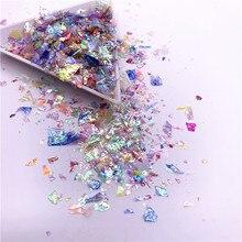 20 กรัม/แพ็คไม่สม่ำเสมอกระดาษเชลล์เลื่อมDIY Nail Flakiesที่มีสีสันPaillettesเล็บSequinsสำหรับ 3Dตกแต่งเล็บ