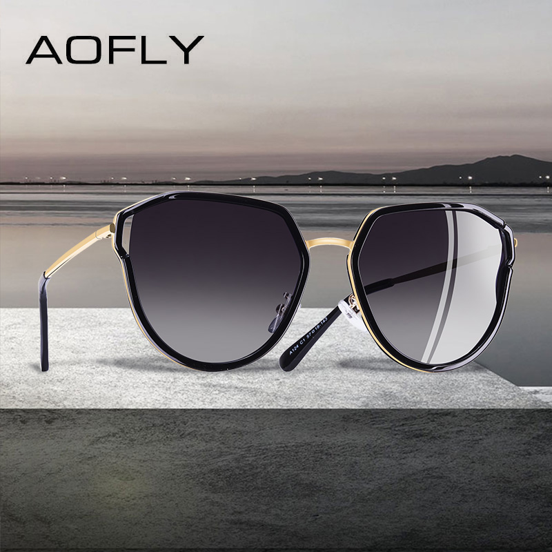 74a42caf875d40 AOFLY BRAND DESIGN 2019 Cat Eye Zonnebril Hollow Out Frame Gepolariseerde  Zonnebril Vrouwen UV400 Gradient Eyewear