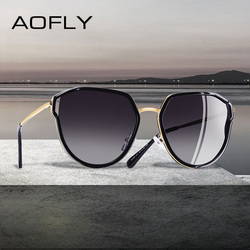 AOFLY BRAND DESIGN 2019 Cat Eye Sunglasses Hollow Out Frame Polarized Sunglasses Women UV400 Gradient Eyewear Goggles A124