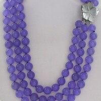 Encantos púrpura 3 fila 8mm ronda moda violeta calcedonia jade piedra fabricación de la joyería AAA gemas collar de moda flor de la cáscara + BV353