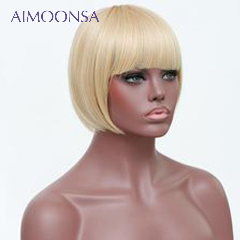 613 Lace Front Wig Blonde Wig Human Hair Wigs With Bangs Bob Straight Hair Short Hair Wig Natural Hair Peruvian Remy Aimoonsa-in Human Hair Lace Wigs from Hair Extensions & Wigs    2