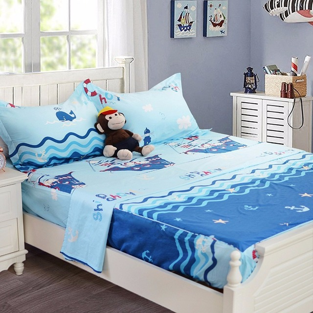FADFAY Blue Nautical Bedding For Kids Teen Boys Twin/Full/Queen Fitted  Sheet Deep