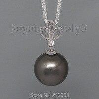 Thời trang Cổ Điển Vòng 10x10 mét 18Kt Trắng Gold Black Pearl Mặt Dây Chuyền, Kim Cương Ngọc Trai Pendant Necklace Cần Bán WP23