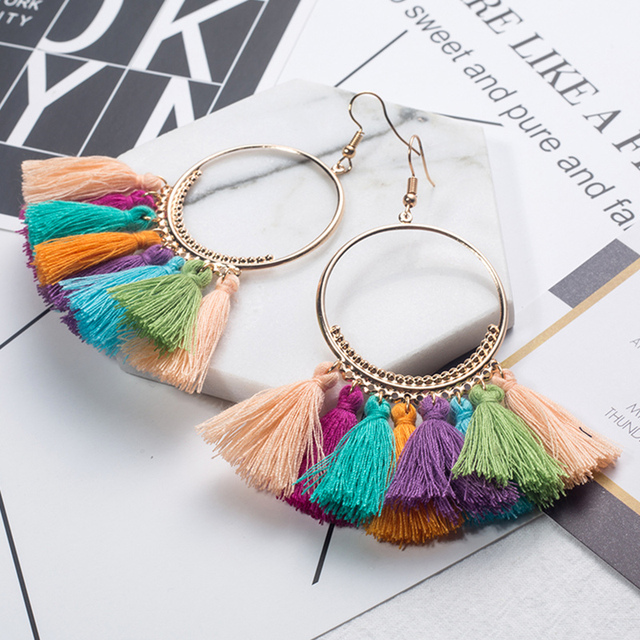 2018 Fashion Bohemian Ethnic Fringed Tassel Earrings for Women Golden Round Circle Ring Dangle Hanging Drop Earrings Jewelry 4