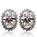 Women's Stud Earring Elegant  Austrian Crystal Earring Studs Antique Earrings Pin the Silver  White   E403