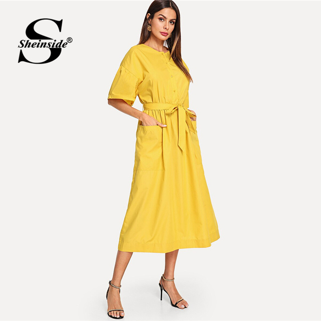 d6a7893444 Sheinside Yellow Button Front Pocket Patch Self Belted Dress Women 2019  Summer Casual Solid Dresses Ladies Fit and Flare Dress