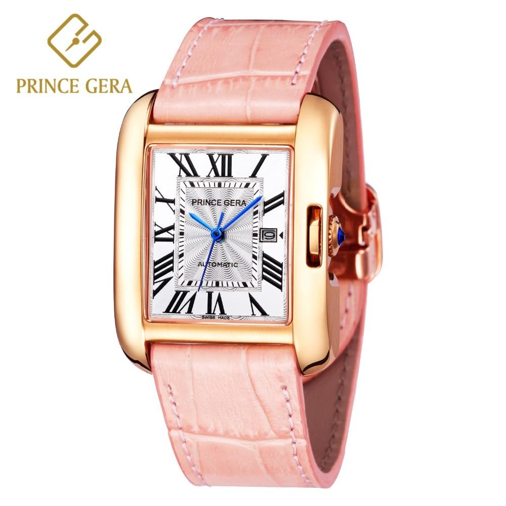 PRINCE GERA Luxury Silver Diamond Women Watches Genuine Leather Female Automatic Watch Ladies Rectangle Mechanical Wrist Watch