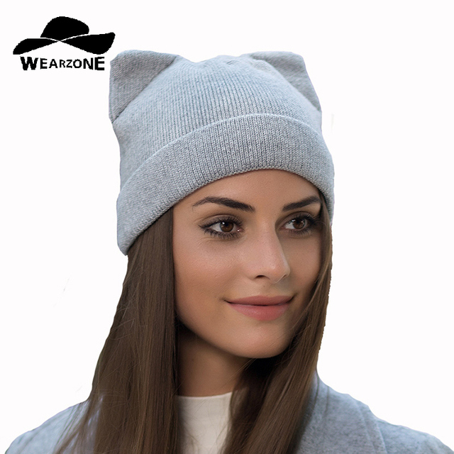 Warm Winter hat for women knitted Cashmere wool beanies hat cat ear stylish  cap 2017 new fashion lovely Skullies cap 09b8b41b8df8