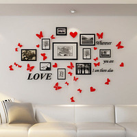 Romantic Butterfly Frame Acrylic 3D wall stickers Creative combination Photo wall decoration DIY art wall decor stickers