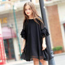 Teenage girls summer princess dress little girl chiffon loose trumpet sleeves show dresses for 4 6 8 10 12 14 16 Years