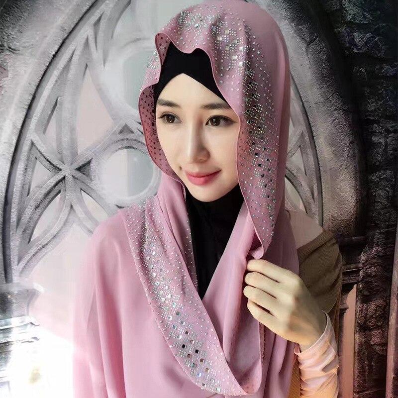 US $9 51 30% OFF Fashion diamonds women's scarf high quality Turkish  Indonesian muslim chiffon hijab women's headwear girl's cap 180*90-in  Islamic