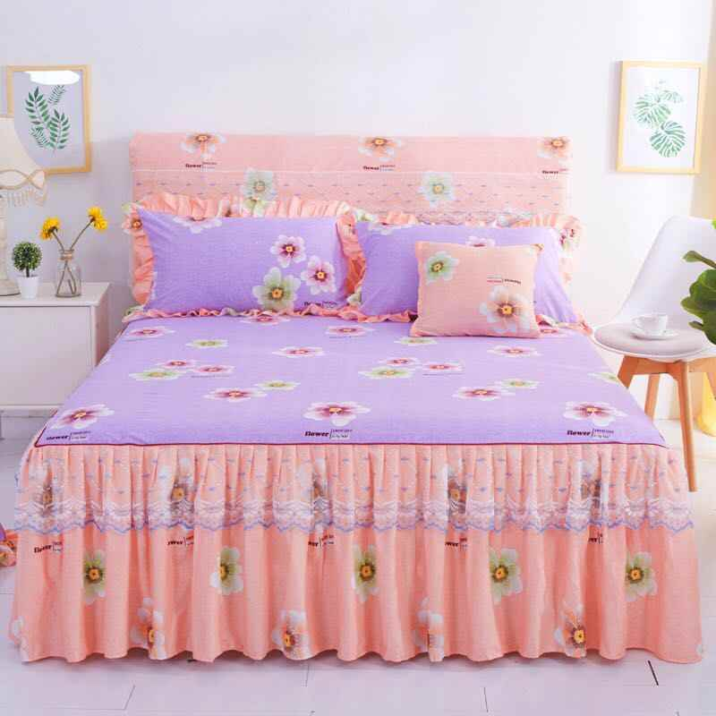 Fashion Simple Lace Bedspread Soft Sanding Bed Skirt Queen Twin King Size Fitted Bed Sheet Double Layer Ruffle Bed Skirt