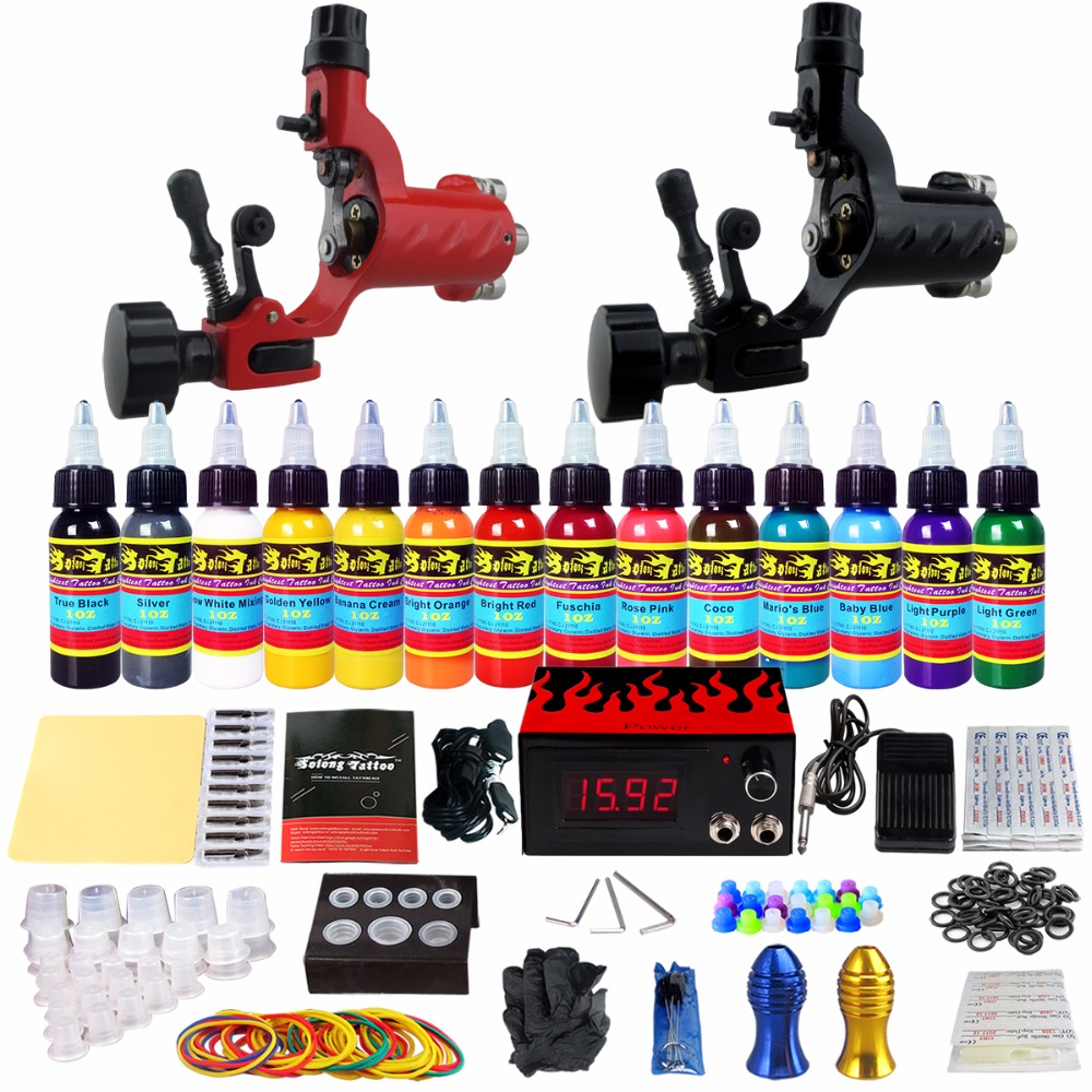 Solong Tattoo Starter Complete Tattoo Kit 2 Pro Rotary Tattoo Machine Guns Kit 14 Colors Inks Set Needles Grips Tips TK249 pro aluminum alloy carving rotary tattoo