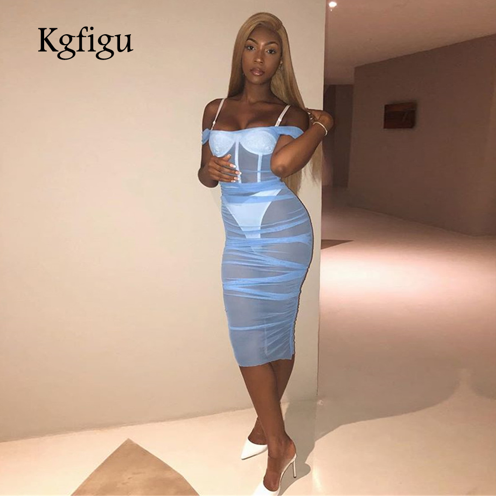 KGFIGU Women slash neck transparent Ruched dress 2019 Beach style skyblue vestidos de festa Sexy party dresses womens clothing in Dresses from Women 39 s Clothing