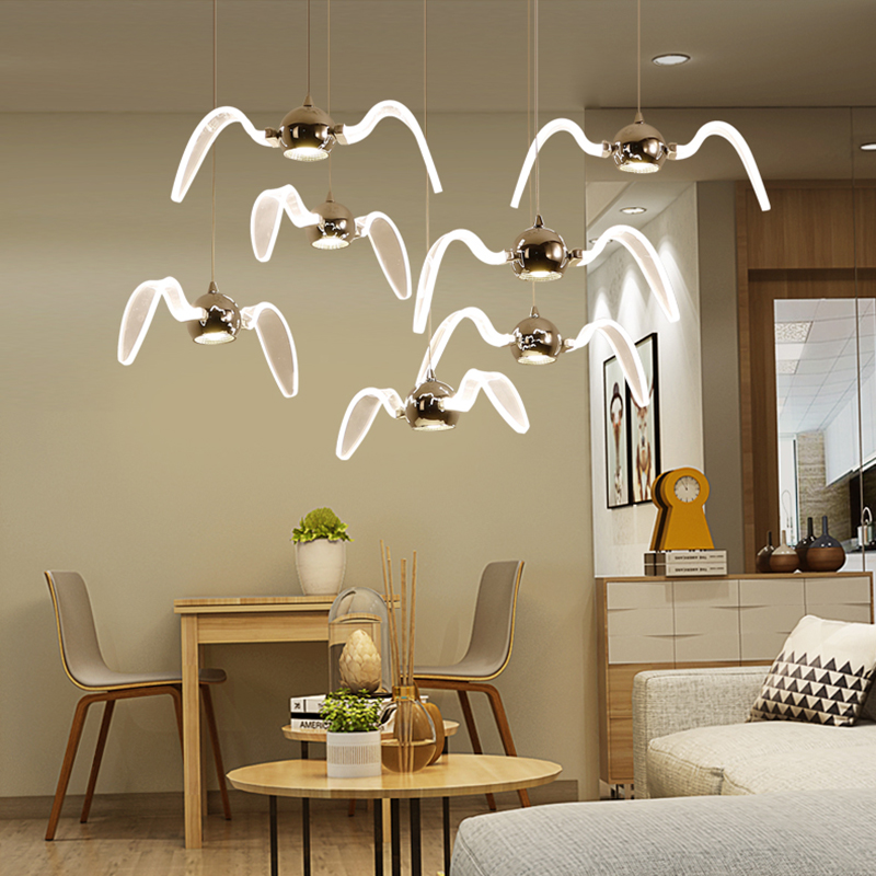 Novelty led Pendant Light for Kitchen Dining Room White Pendant Lamp for Coffee House Bedroom Suspension Seagull Lamp Fixtures factory cheap amber smoky gray red coffee blue glass pendant lamp pendant light edison bulb bedroom dining room cafe kitchen bar