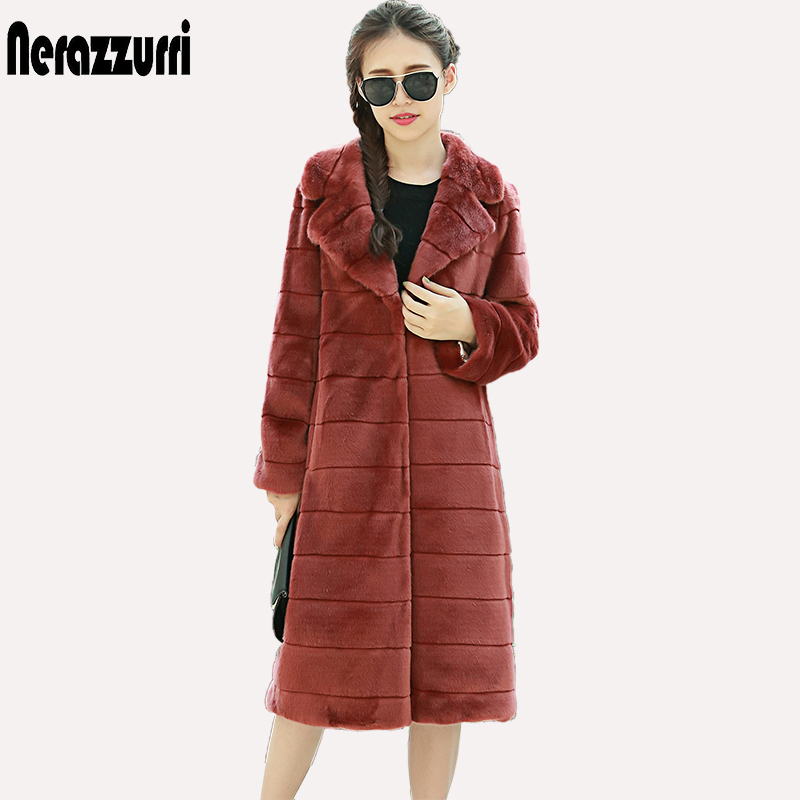 Nerazzurri Winter Faux Fur Coat Women Lapel Long Striped Black Thciken Warm Furry Warm big Size